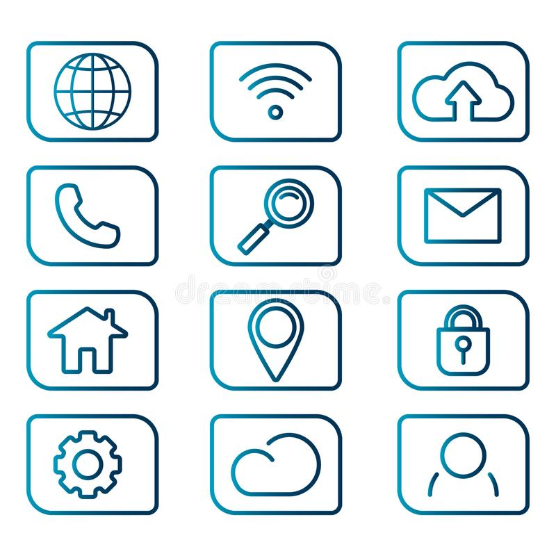 Colorful set of web icons for business on isolated background stock photography