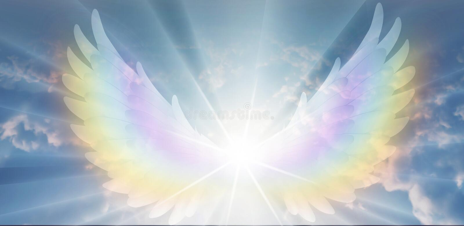 Spiritual guidance, Angel of light and love doing a miracle on sky, rainbow angelic wings. Angelic light being  on sky, big rainbow wings and glowing lights in stock photos