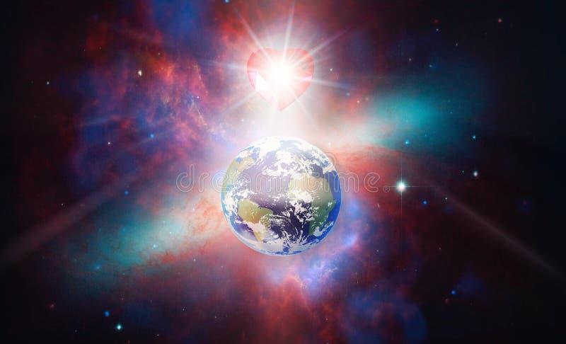 Spiritual love healing earth energy, power, diamond heart grid, evolution, transformation. Earth planet in space, colorful nebula, cosmos, diamond heart bursting royalty free stock photo
