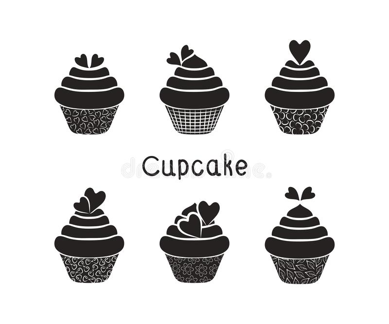 Set of cupcakes. Silhouettes of cupcakes with cream and hearts. royalty free illustration