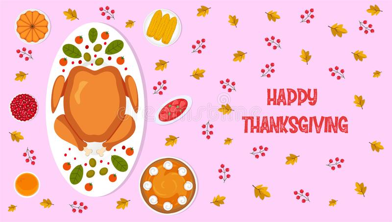 Thanksgiving dinner banner, poster with traditional dishes and text. Top view horizontal vector illustration with autumn leaves an royalty free stock photo