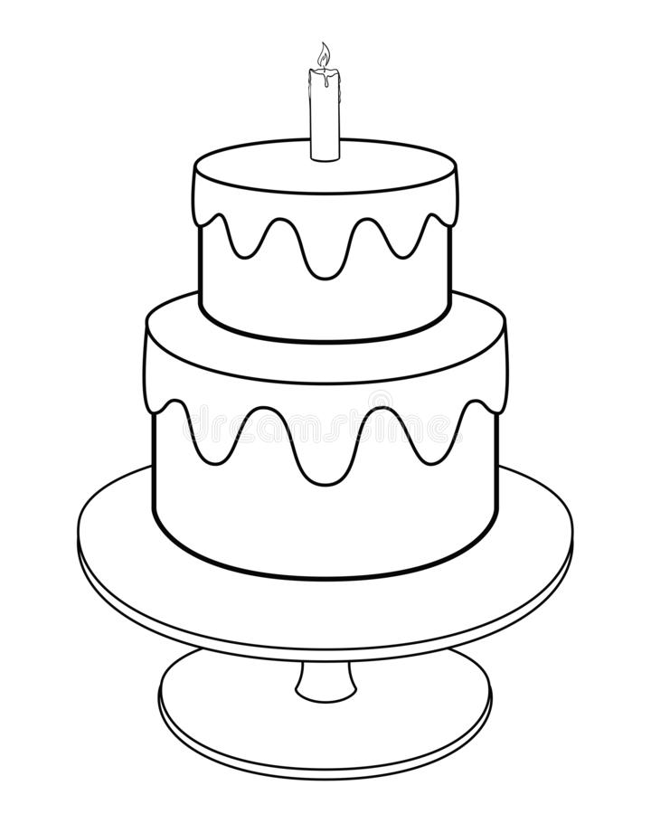 Bunk cake on a stand with icing and one candle. Holiday cake - vector linear picture for coloring. Outline. Hand drawing. royalty free illustration