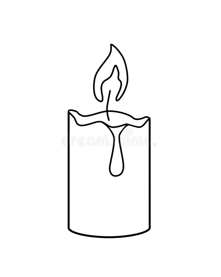 Burning candle - vector template for coloring. Linear drawing of a candle. Outline. vector illustration