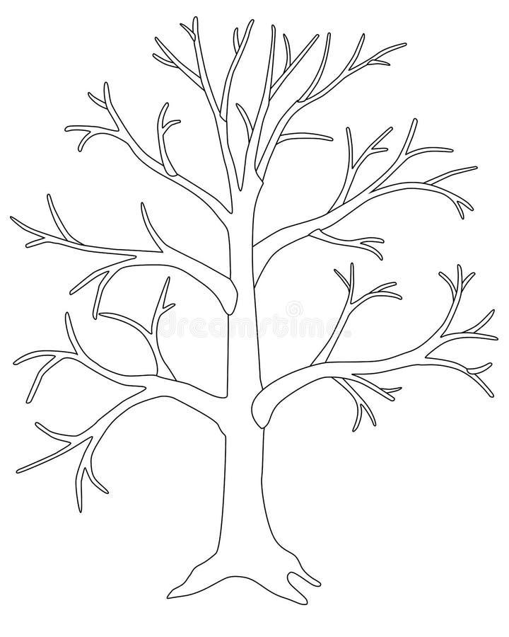 Print Tree Leaves Trunk Silhouette Stock Illustration ...