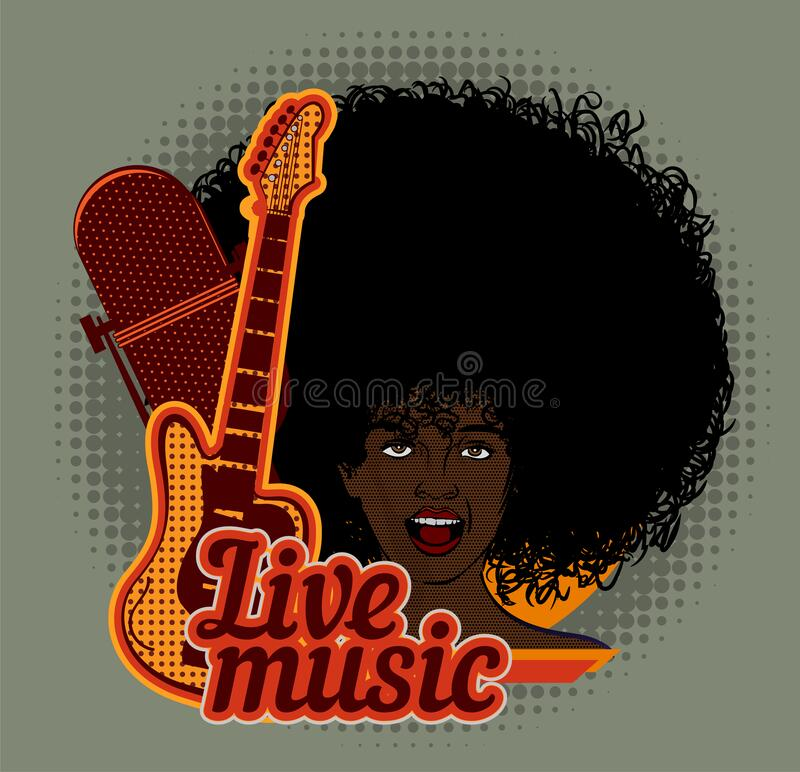 Woman soul singer. Afro hairstyle. Vector image. Jazz and blues music. Vintage poster. Woman soul singer. Afro hairstyle. Vector image. Jazz and blues music stock illustration