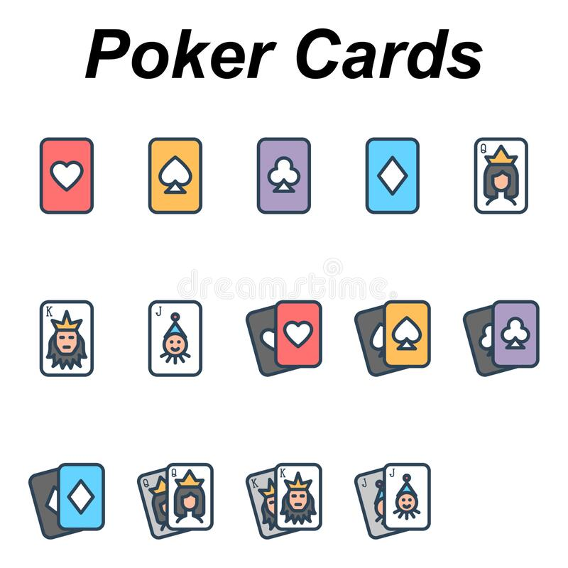 Playing poker cards - 14 images. Playing poker cards - Filled color outline icons set uploading clip-art image royalty free illustration