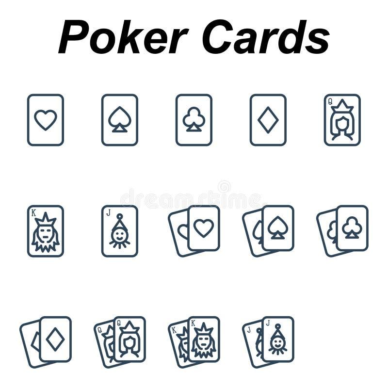 Playing poker cards - 14 images. Playing poker cards - Outline icons set uploading clip-art image stock illustration
