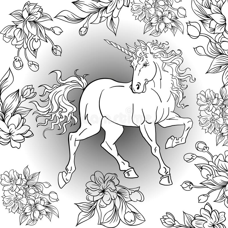 Colouring book Unicorn with flowers. stock images