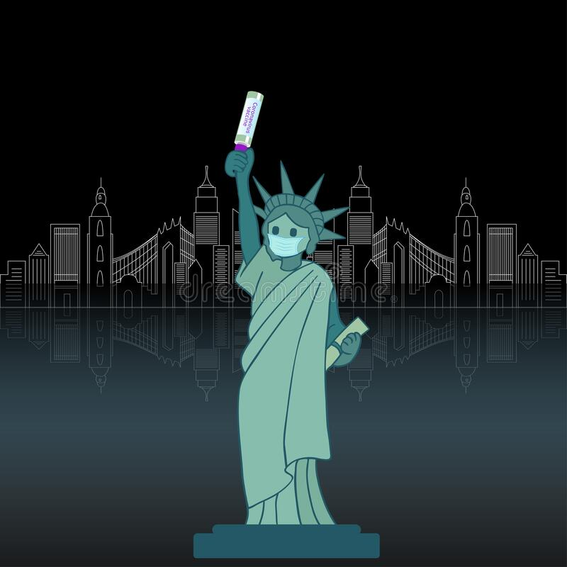 Statue of Liberty with vaccine. stock photos