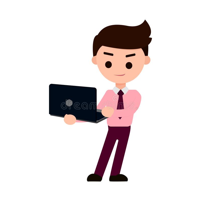 Business man happy with the project. Business man happy after looking a good news about project on his laptop stock illustration