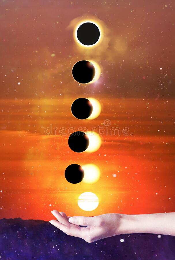 ,Solar  eclipse phases, full eclipse, universe,  sky background stock photography
