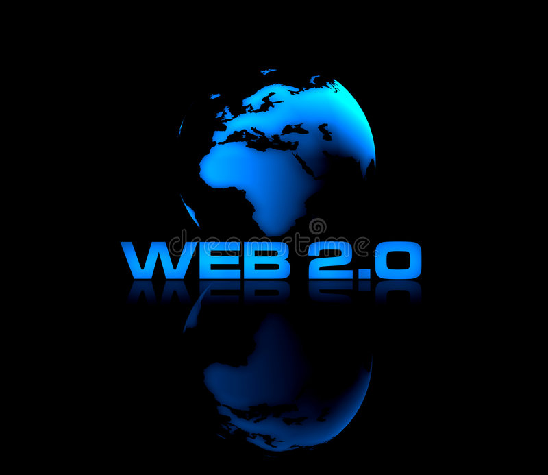 Web 2.0. Abstract shiny globe on black background with WEB 2.0 type in front