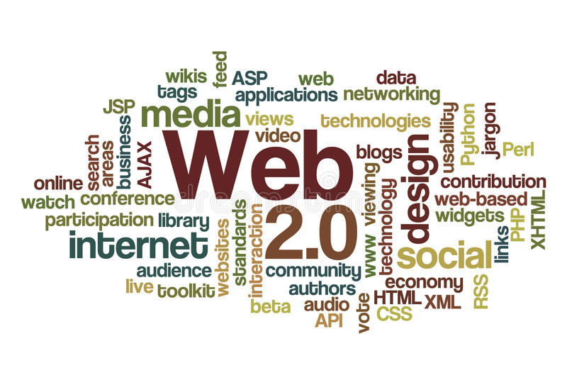 Web 2.0 - de Wolk van Word stock illustratie