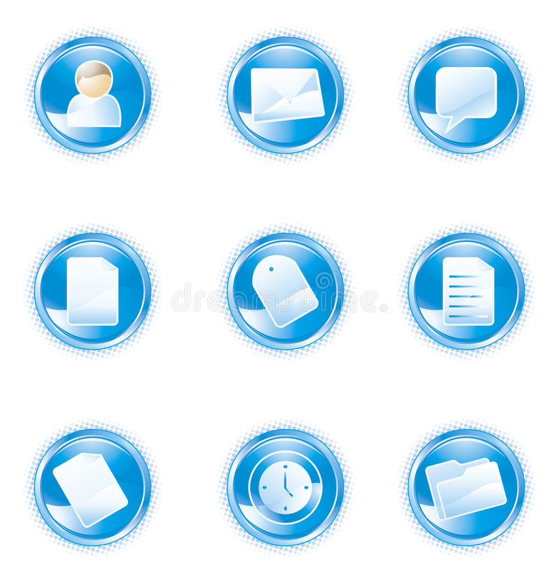 Web 2.0 icons, blue set vector illustration