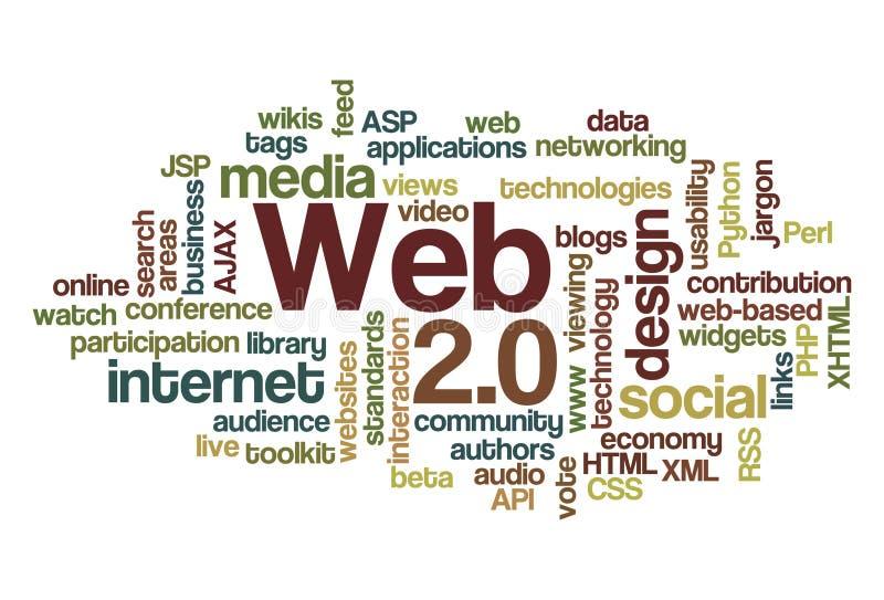 Web 2.0 - Nuvem da palavra ilustração stock
