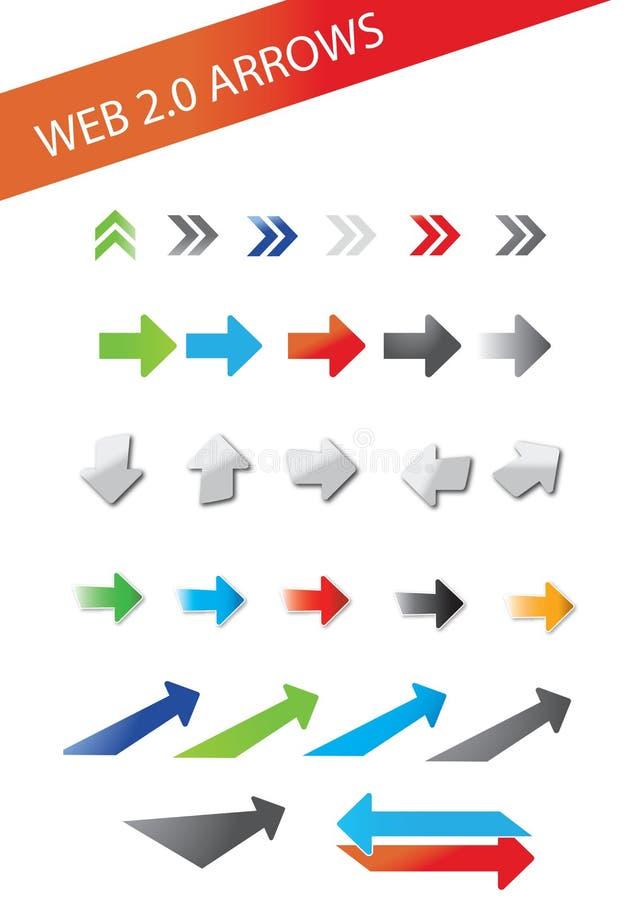 Web 2.0 pijlen stock illustratie