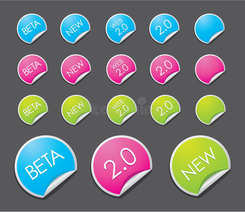 Web 2.0 stickers stock afbeelding