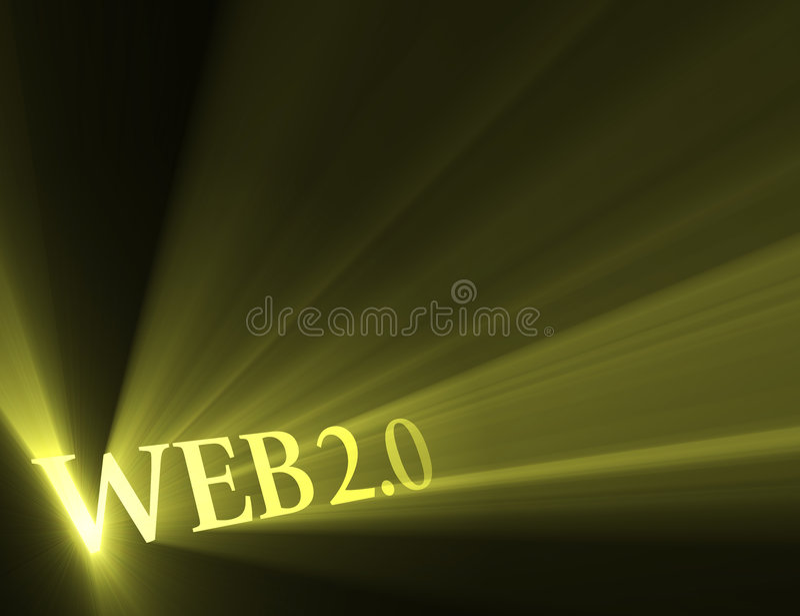 Web 2.0 version sign shining light flare stock illustration