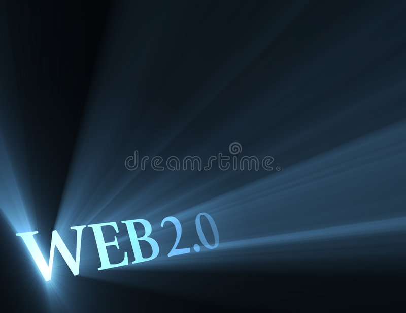 Web 2.0 version sign shining light flare