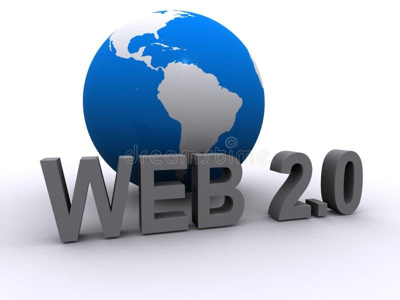Web 2.0 y globo ilustración del vector