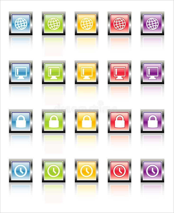 Web 3 (vettore) delle icone di MetaGlass fotografie stock libere da diritti