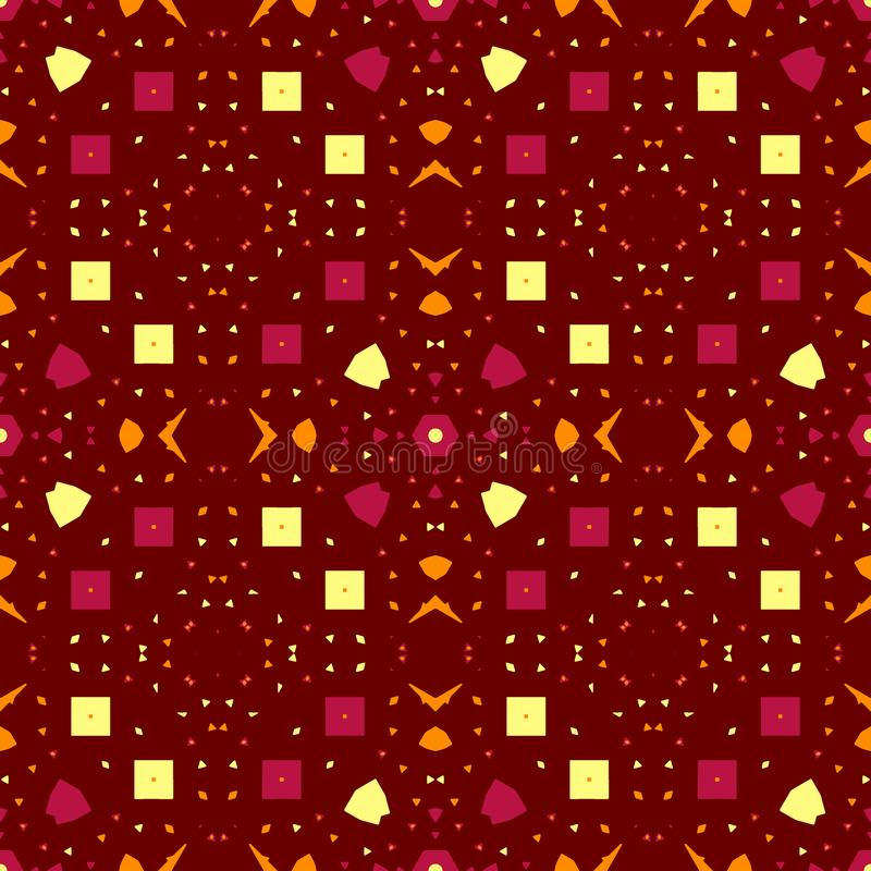 Abstract contrast seamless pattern. Orange, yellow, crimson, elements; brown background stock illustration