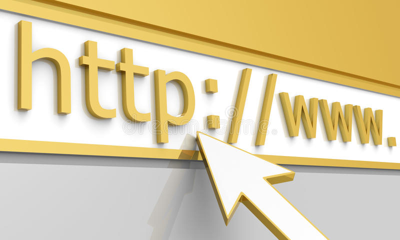 Web Address. 3D illustration of computer white arrow cursor, pointing towards an http web address royalty free illustration