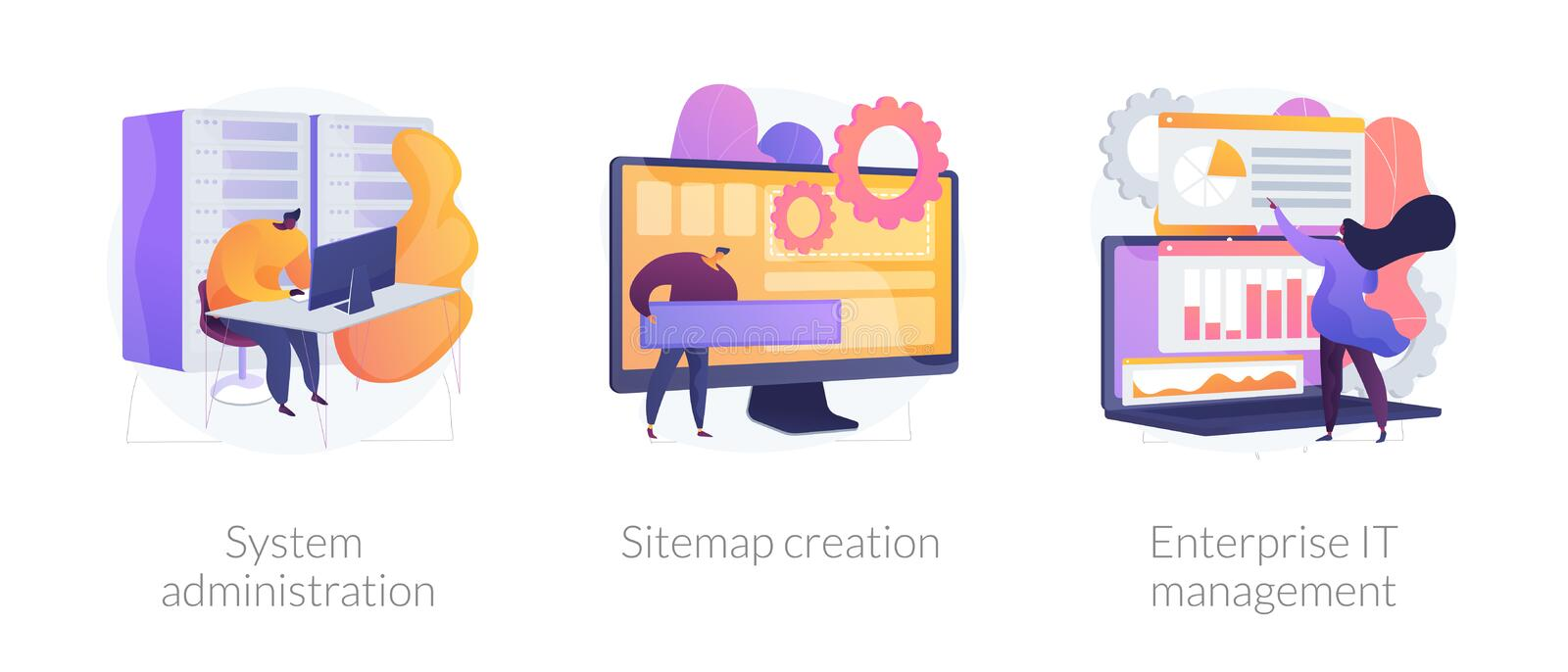 Web administration vector concept metaphors. Server maintenance, web design development, business organization icons set. System administration, sitemap creation stock illustration