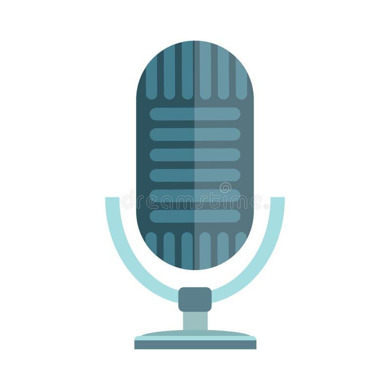 Web aislado icono de la música TV de la entrevista del vector del micrófono que difunde el audio vocal de la emisión de radio de  libre illustration