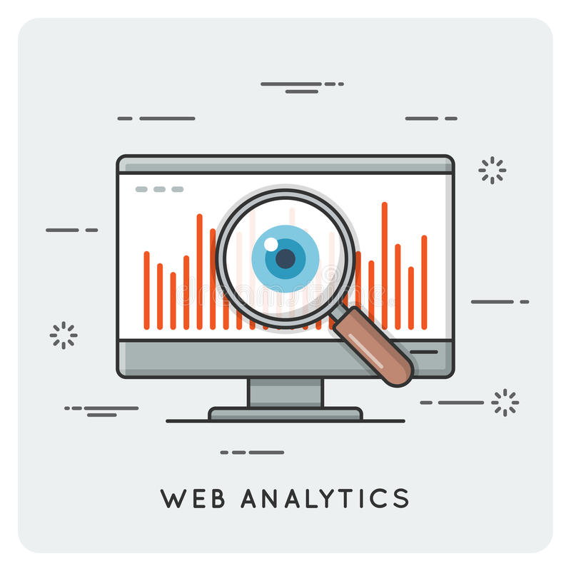 Web Analytics Dun lijnconcept vector illustratie