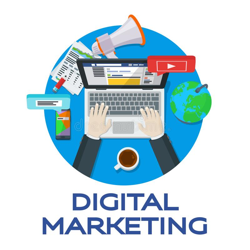 Web analytics elements. Digital marketing. Work in social networks. Search engine optimization. Expert in SEO. Banner for advertis. Ing of the round form. Vector vector illustration