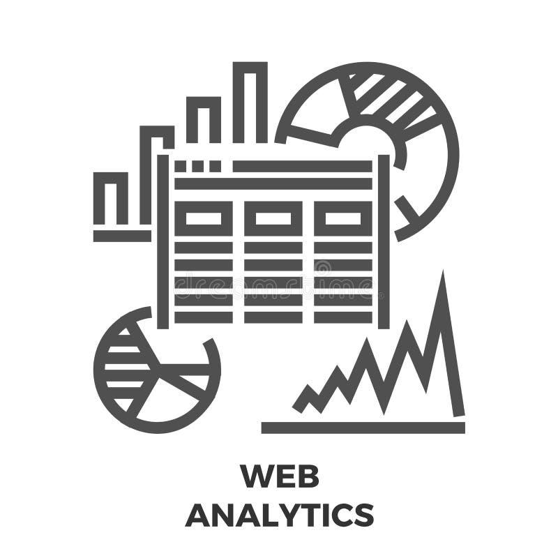 Web Analytics Line Icon stock illustration