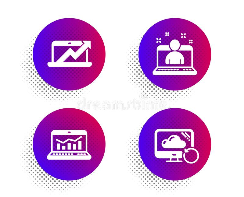 Web analytics, Sales diagram and Best manager icons set. Recovery cloud sign. Vector stock illustration