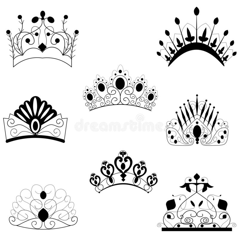 web Antiek en decoratieve KRONEN royalty-vrije illustratie