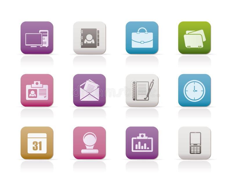 Web-Anwendungs-, Geschäfts- und Büroikonen stock abbildung