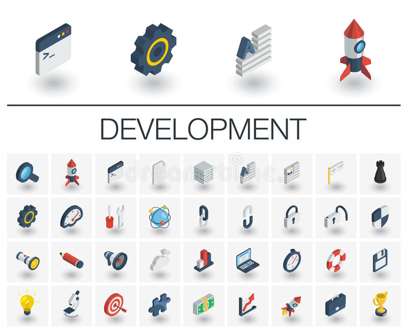 Web and App development isometric icons. 3d vector vector illustration