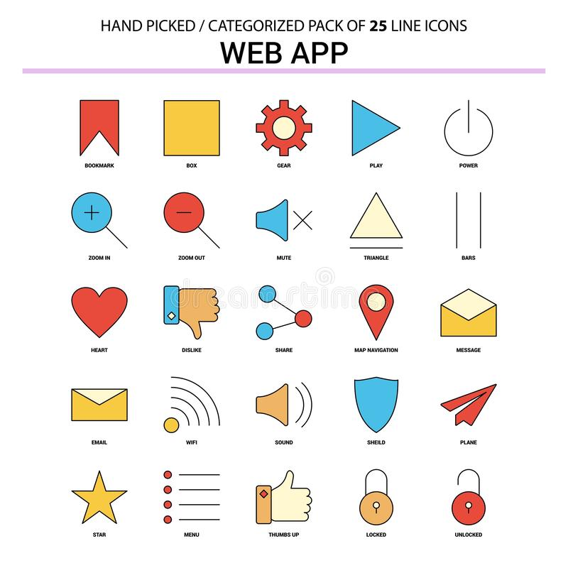 Web App Flat Line Icon Set - Business Concept Icons Design royalty free illustration