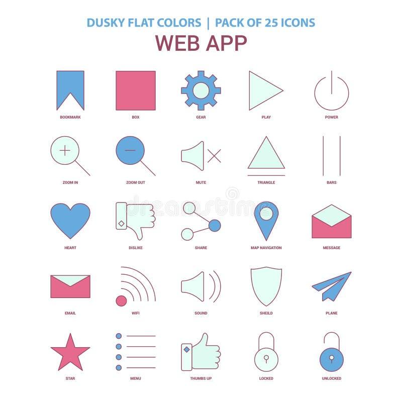 Web App ikony Ciemniusieńki Płaski kolor - rocznika 25 ikony paczka ilustracji
