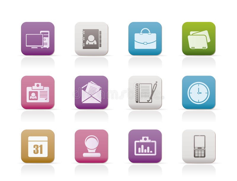 Web Applications,Business and Office icons stock illustration