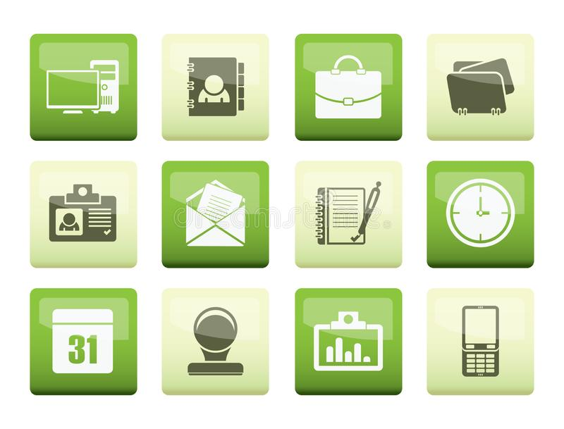 Web Applications, Business and Office icons, Universal icons over color background. Vector icon set stock illustration