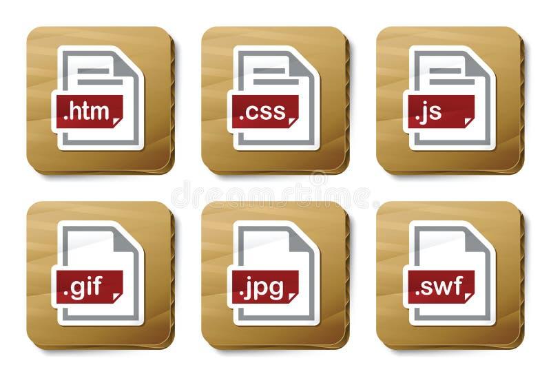 Web archiviert Ikonen | Pappserie stock abbildung