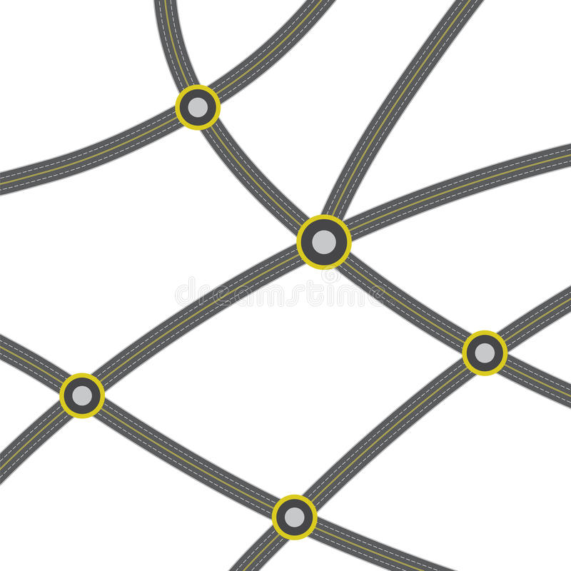Web of ashalted roads vector. Web of ashalted roads with crossroads vector stock illustration