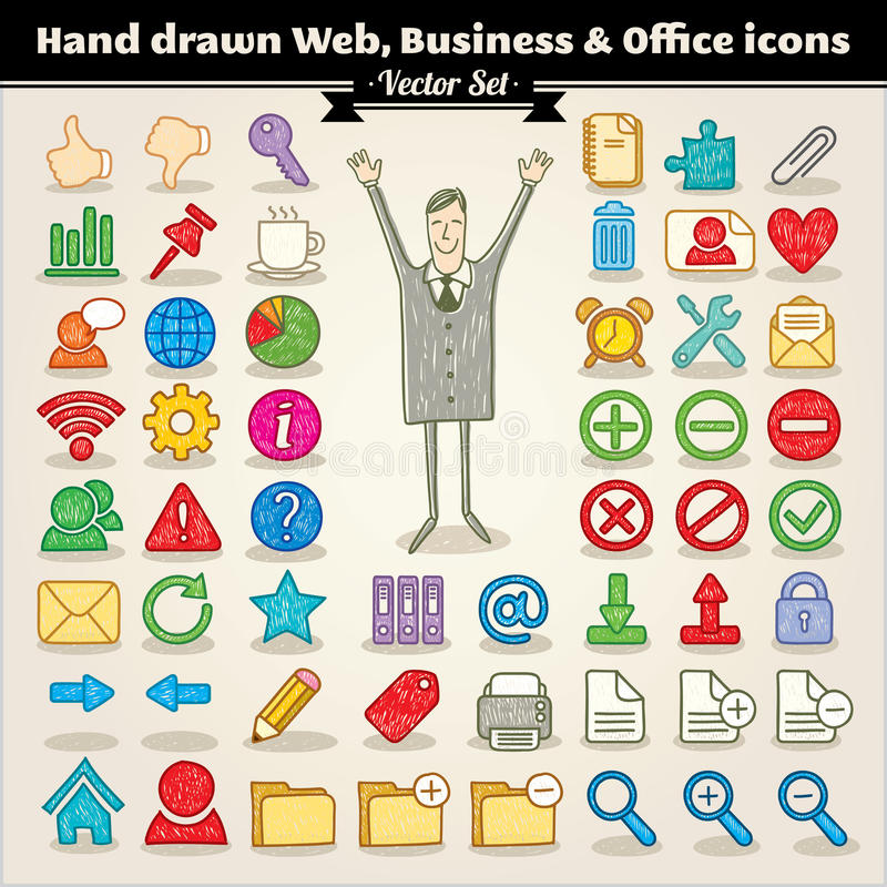 Web, asunto e iconos drenados mano de la oficina stock de ilustración