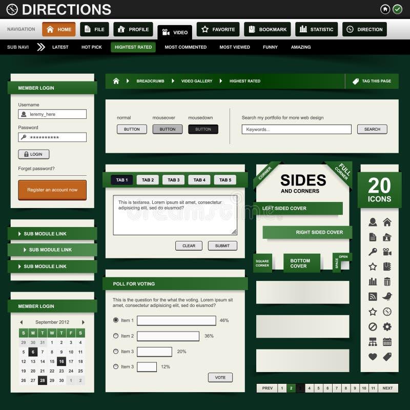 Web-Auslegung-Element dunkelgrün lizenzfreie abbildung