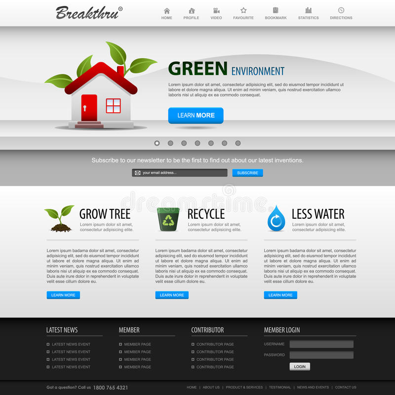 Web-Auslegung-site-Element-Schablone lizenzfreie abbildung