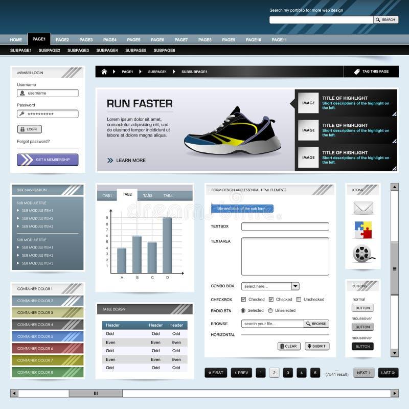 Web-Auslegung-site-Element-Schablonen-Taste lizenzfreie abbildung