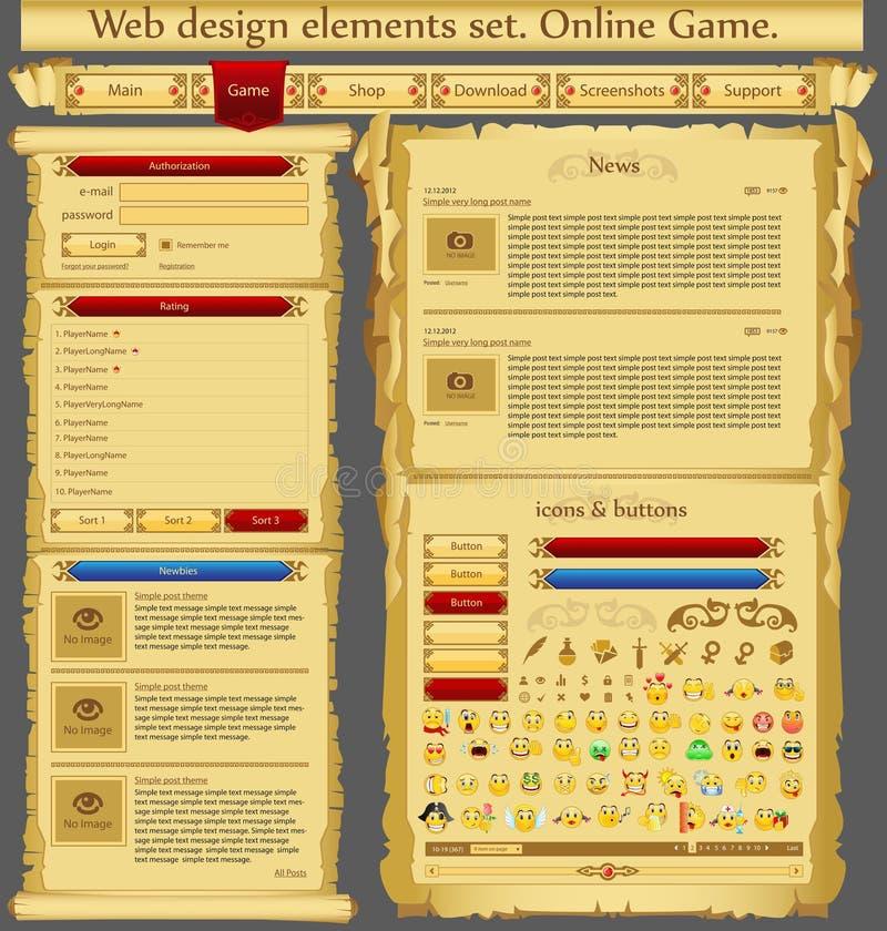 Web-Auslegungelementspiel lizenzfreie abbildung