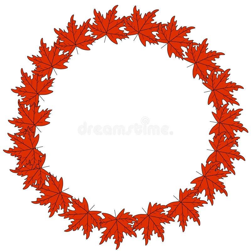 Web Autumn Logo Design grinalda do outono, quadro redondo das folhas de outono coloridas e bagas Elementos do projeto gr?fico ilustração do vetor