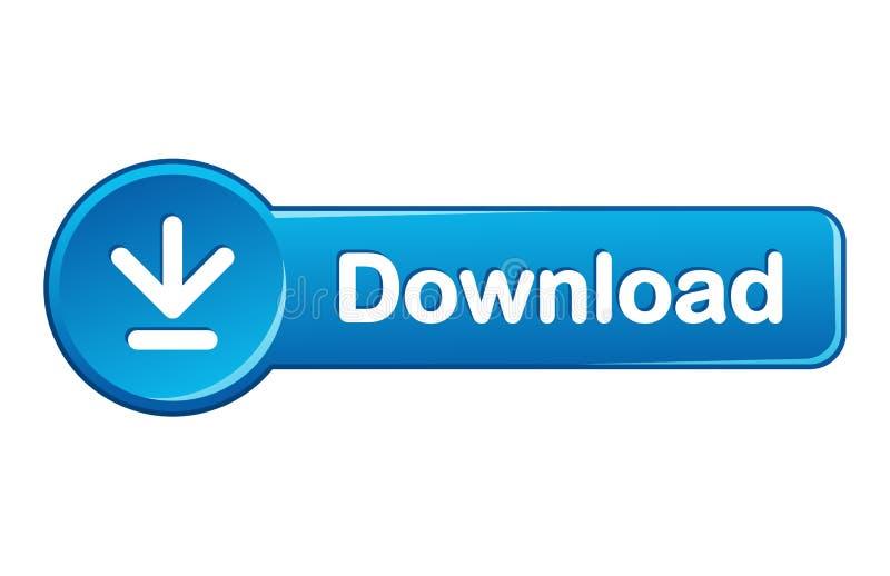 Web azuis do ícone do botão da transferência ilustração stock