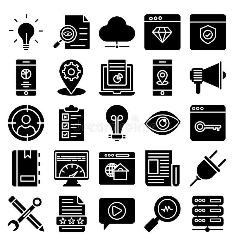 Web básica y SEO Isolated Vector Icons Set del RGB que se pueden modificar fácilmente o corrigen ilustración del vector
